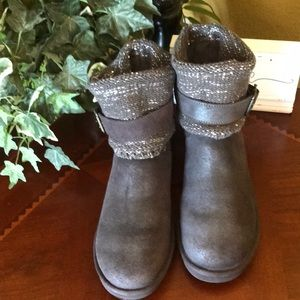 UGG Gray Shimmery Sequin Cambridge Suede Boots